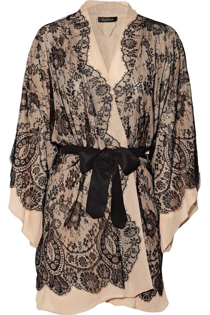 Jenny Packham|Lace-appliquéd silk-chiffon robe|NET-A-PORTER.COM