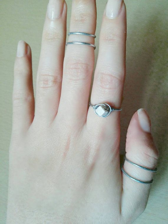 Check out this item in my Etsy shop https://www.etsy.com/listing/255443149/stacking-white-howlite-stone-ring