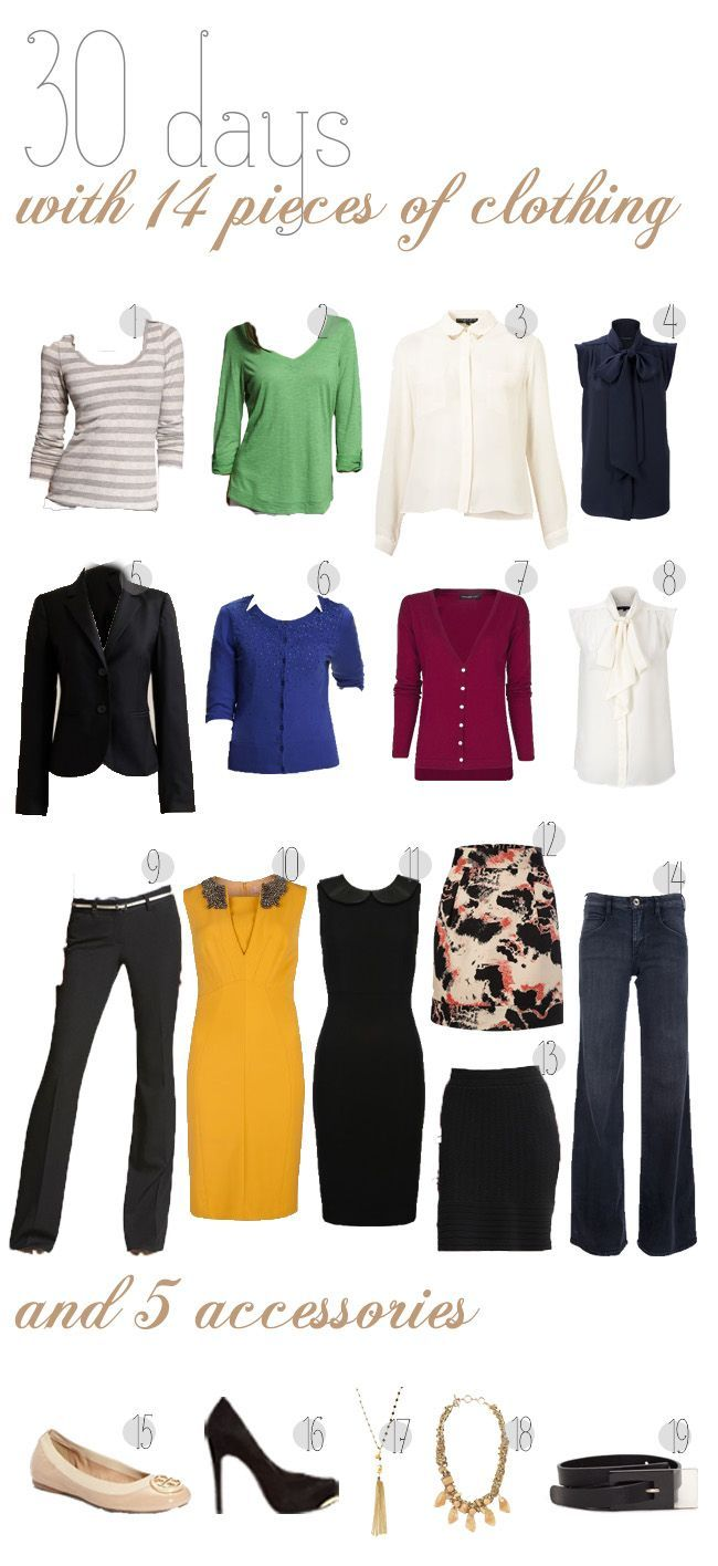 30 outfits with 14 pieces of clothing. a great packing tool for long trips without loading down your suitcase.
