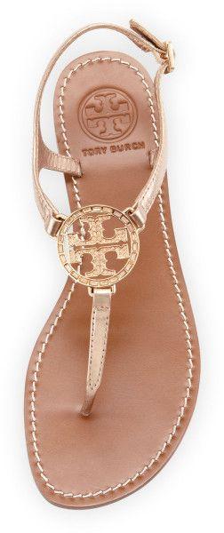 Tory Burch Gold Ginerva Thong Sandal