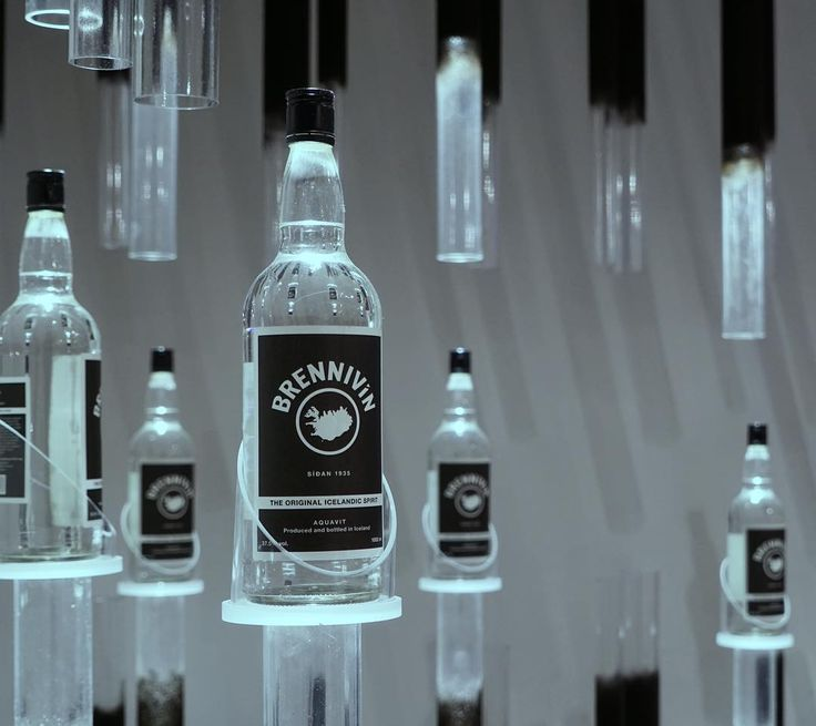 Brennivin on display at the Reykjavik airport. Akvavit. Aquavit.