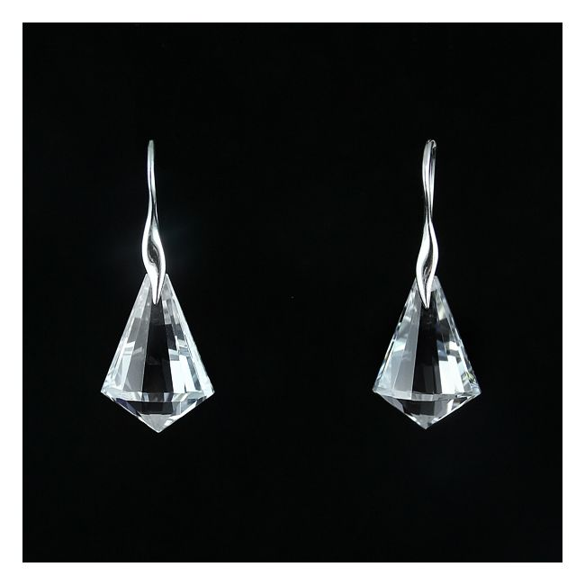 Crystal Bells.  Silver and transparent cubic zirconia earrings/ Perfect for grand occasions.
