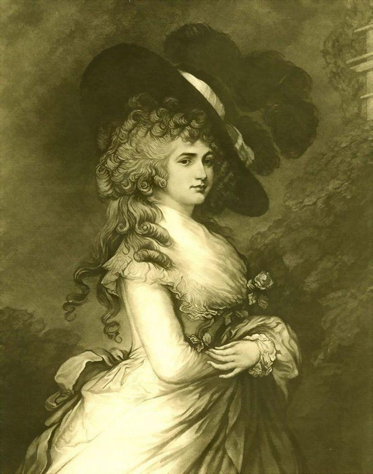 Original 1901 Antique Gainsborough Print Portrait Royalty Duchess Devonshire #Vintage
