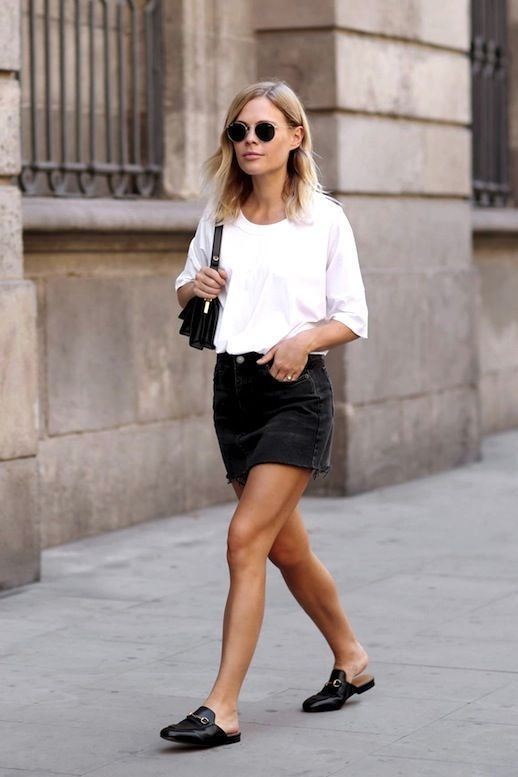 black denim skirt Minimalist fashion and style, Scandinavian style, black and white, monochromatic fashion.