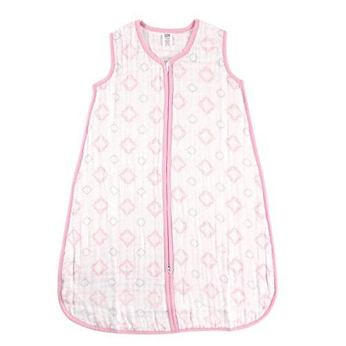 Hudson Baby Wearable Safe Sleep Muslin Sleeping Bag, Pink Damask, 12-18 Months