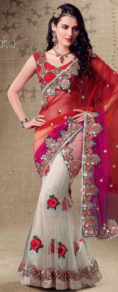 a dress like this takes some time to be made and costs a lot of money red-faux-georgette-net-lehenga-saree-16251.jpg (399×985)