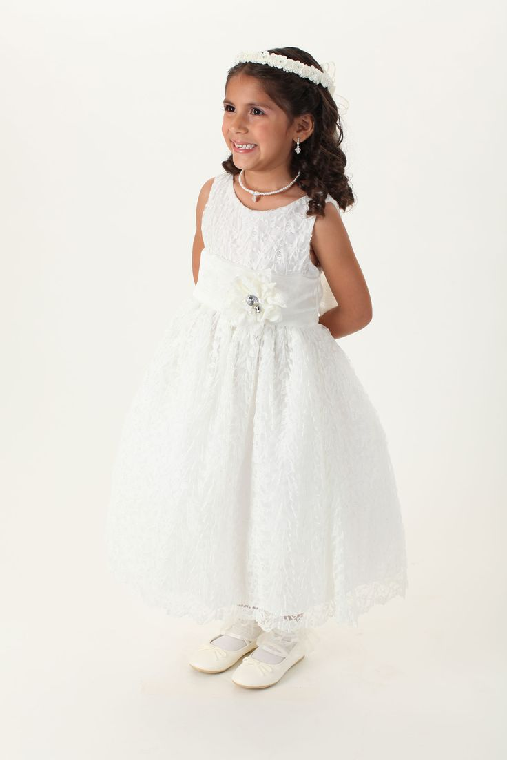 Girls Dress Style 730-  White or Ivory Dress with 70 Sash and Flower Options! $49.99