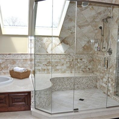 awesome shower - curved seat, beautiful finishes, skylight