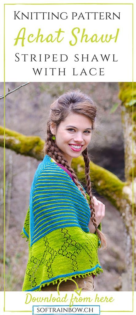 This shawl combines stripes and lace. Great project for anybody: not too difficult for a beginner but interesting enough for advanced knitters too. The pattern includes both written instructions and charts. Very clear and easy to understand pattern.
