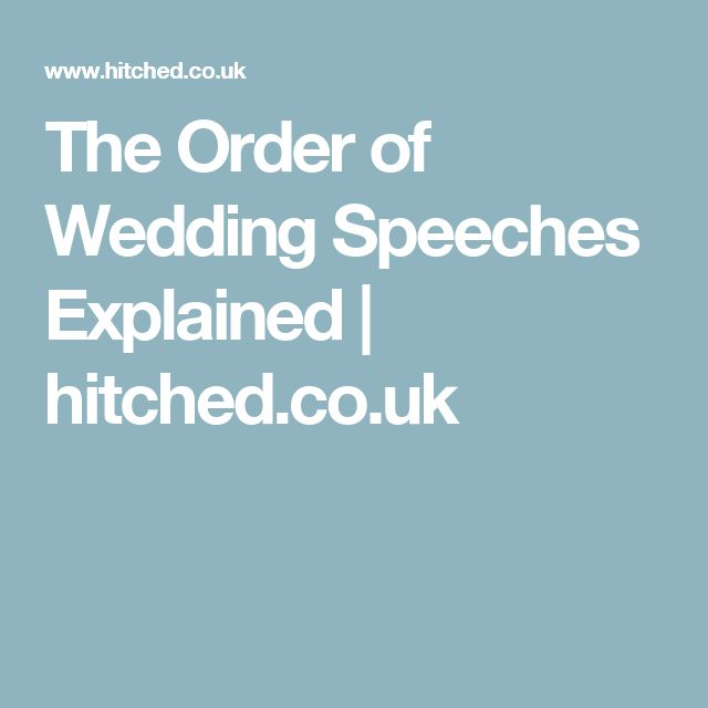 The Order of Wedding Speeches Explained | hitched.co.uk