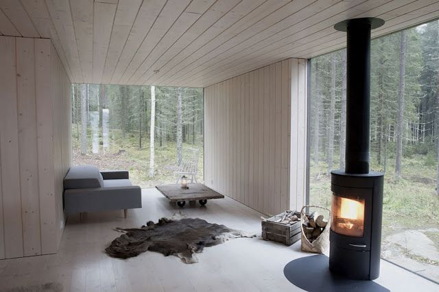 Log burner in a Finnish house: Scandinavian Retreat