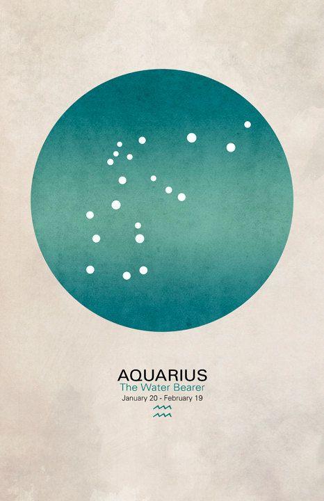 Aquarius Sternbild Wassermann Kunst von blackandthemoon auf Etsy
