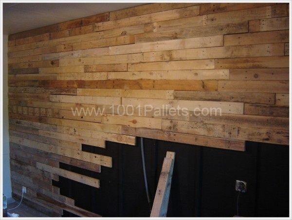 Recouvrement dun mur de cuisine en planches de palettes 120  ~ Mur En Bois De Palette