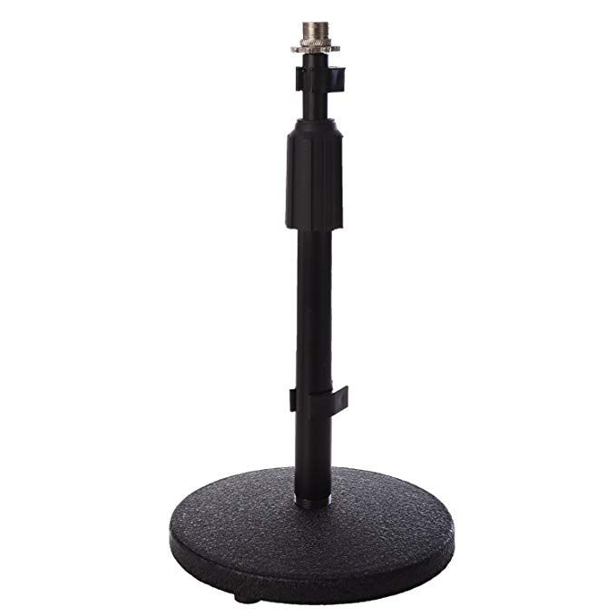 Lyxpro Dks 1 Desktop Microphone Desk Stand Adjustable Height Weighted Base 3 8 5 8 Adapter Table T Adjustable Standing Desk Microphone Microphone Stands