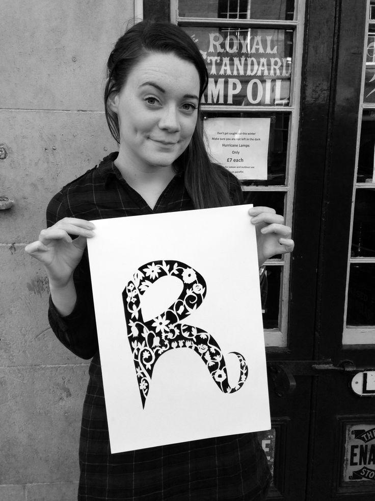 papercut, letter R