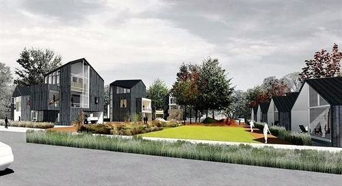 Clustering homes around a common courtyard: the site, as envisioned (Courtesy of U of Arkansas Community Design Center & Downtown Little Rock CDC)