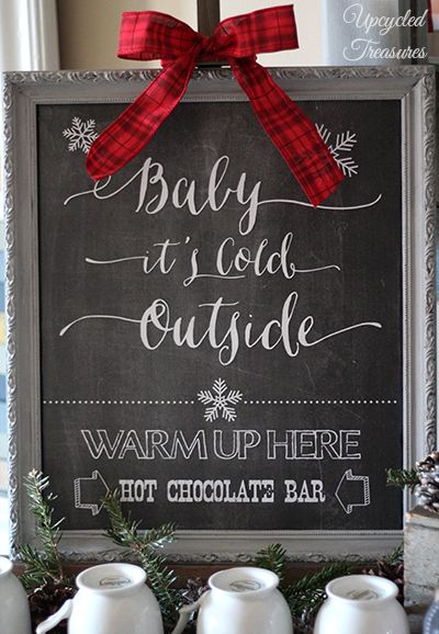 "FREE Hot Chocolate Bar Chalkboard Printable - ""Baby It's Cold Outside"" Hot Chocolate, Hot Cocoa or Hot Beverage Bar Station for weddings or holiday parties"