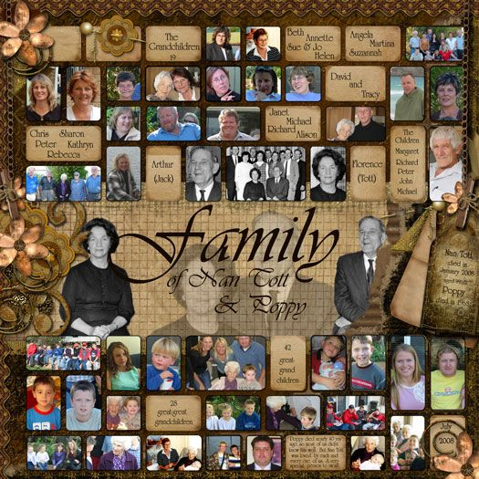 Family of Nan Cott  Poppy ~ scrap a 5 generation photographic family tree on a single page!