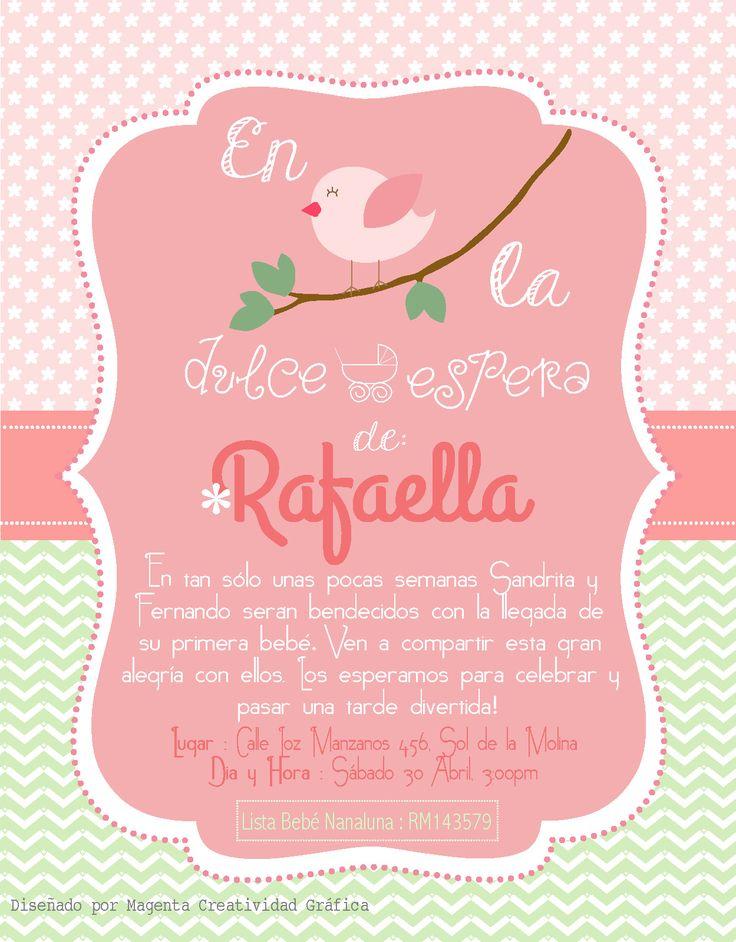 Invitación Baby Shower bebé Rafaella. Temática : Pajaritos. Verde y Rosa. Niña. Naturaleza. Invitaciones fiesta de bebé.