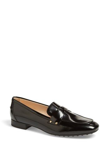 $525, Moccasin Leather Loafer Black 375 Eu by Tod's. Sold by Nordstrom. Click for more info: http://lookastic.com/women/shop_items/128680/redirect