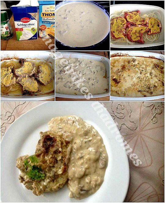 Μπριζόλες με σάλτσα μανιταριών στο φούρνο