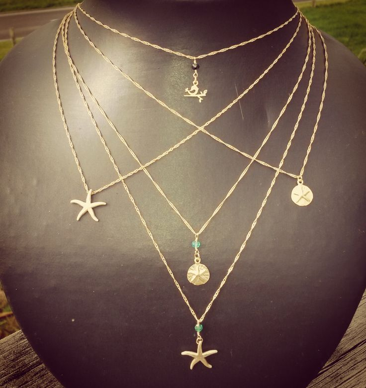Dainties. Cute dainty necklaces. Starfish, bird, gem. by NixieNooDesigns on Etsy