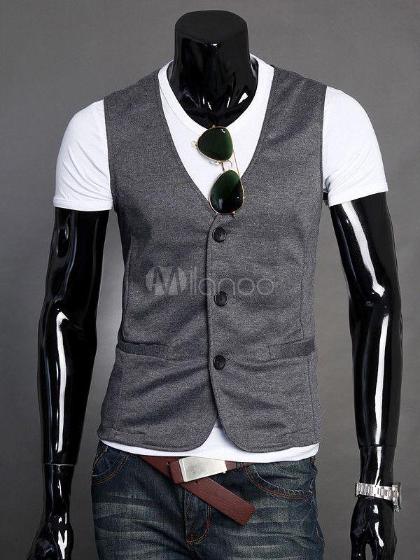 Deep Gray Buttons Pockets Cotton Men's Vest - Milanoo.com
