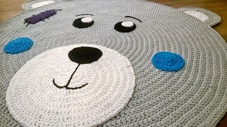 Another teddy bear carpet (boy's version)  will grace children's room  ✔ Diameter: 110 cm (without ears) ✔ Material: Cotton cord 5 mm ✔Machine washable at 30 degrees! ✔ Orders via Szydelkowe.Impres... #Scandinavianstyle #Scandi #Impressions #Handmade #Diy #rekodzielo #interior #interior #4Home #Decor #Cord #Cotton #Szydelkowanie #crochet #sznurekbawełniany #crochetrug #crochetteddybear #szydelkowydywan #carpet #Myhome #4kids #forchildren #kidsrooms