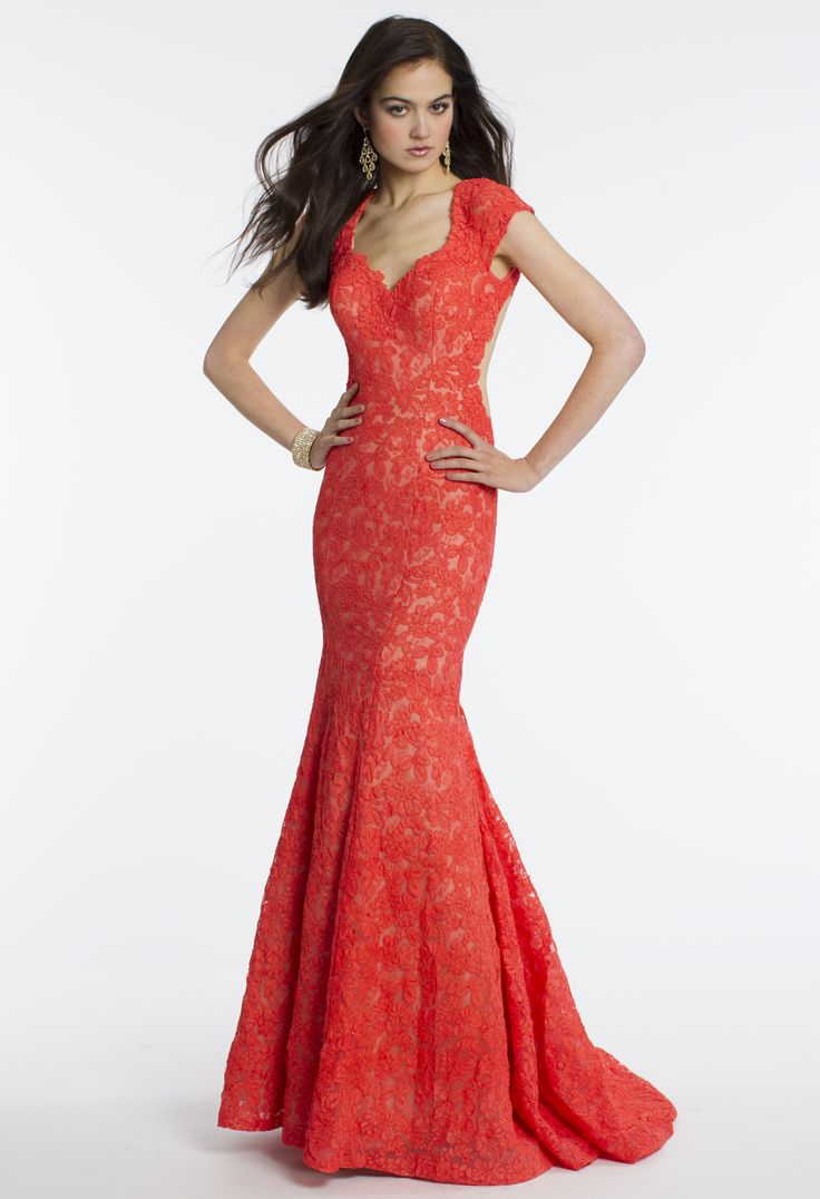 Camille La Vie Capped Sleeve Lace Prom Dress with Mermaid Silhouette
