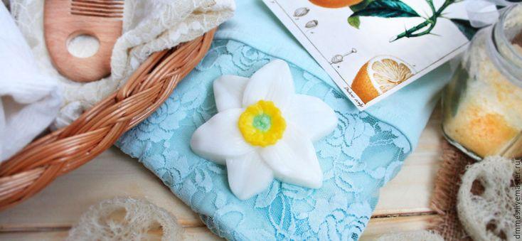 """Купить Мыло """"Нарцисс"""" - белый, мыло нарцисс, мыло ручной работы, мыло в подарок"""