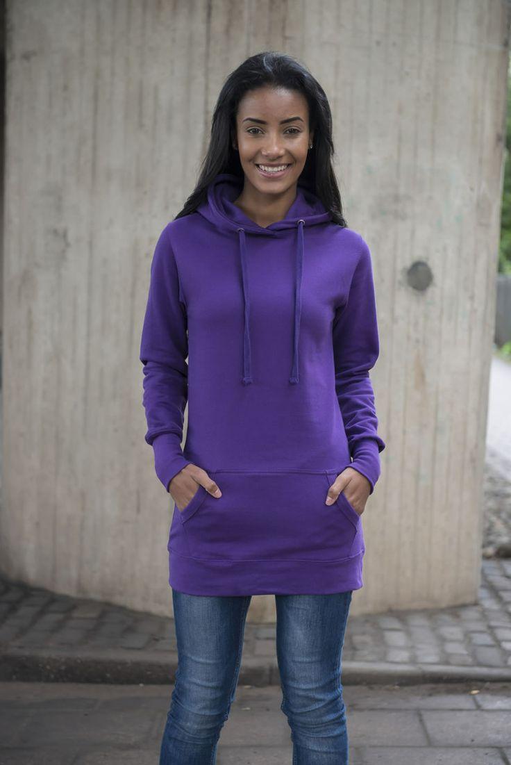 dámské prodloužené mikiny Just Hoods by AWDis -  JH005 in Purple