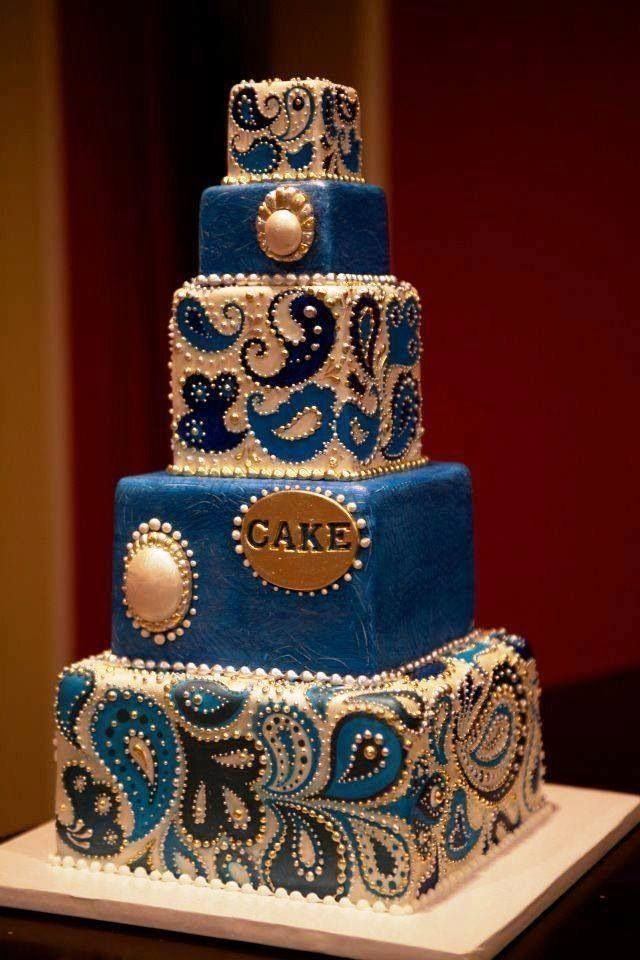 blue and white paisley wedding cake