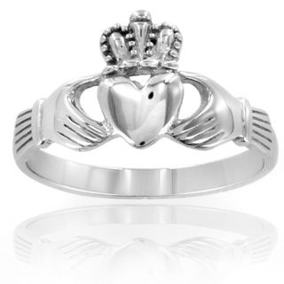 ELYA Stainless Steel Irish Claddagh Ring | Overstock™ Shopping - Big Discounts on West Coast Jewelry Fashion Rings