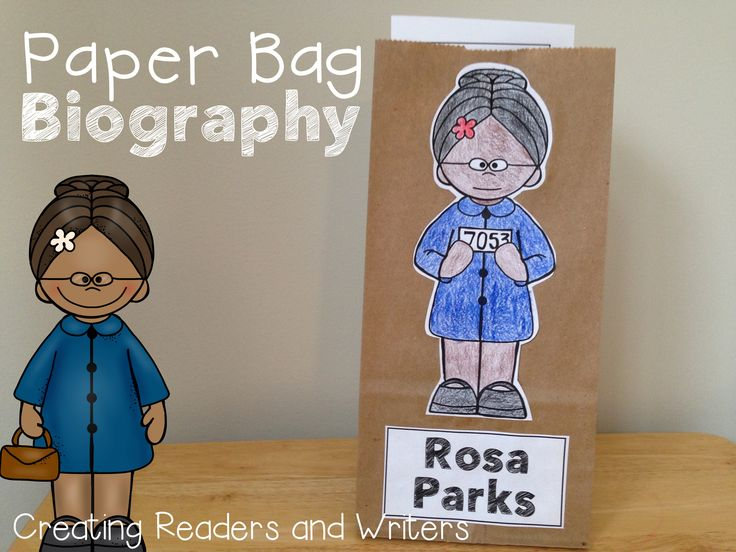 "A ""Paper Bag Biography"" about Rosa Parks: Fun facts, retelling props, a reader's theater script and more... all tucked neatly into a paper bag! #rosaparks #blackhistorymonth $"