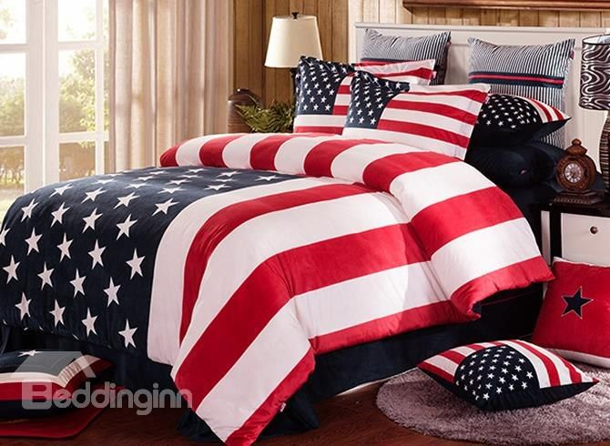Patriotic American Flag Stars And Stripes Fluffy 4 Piece Bedding