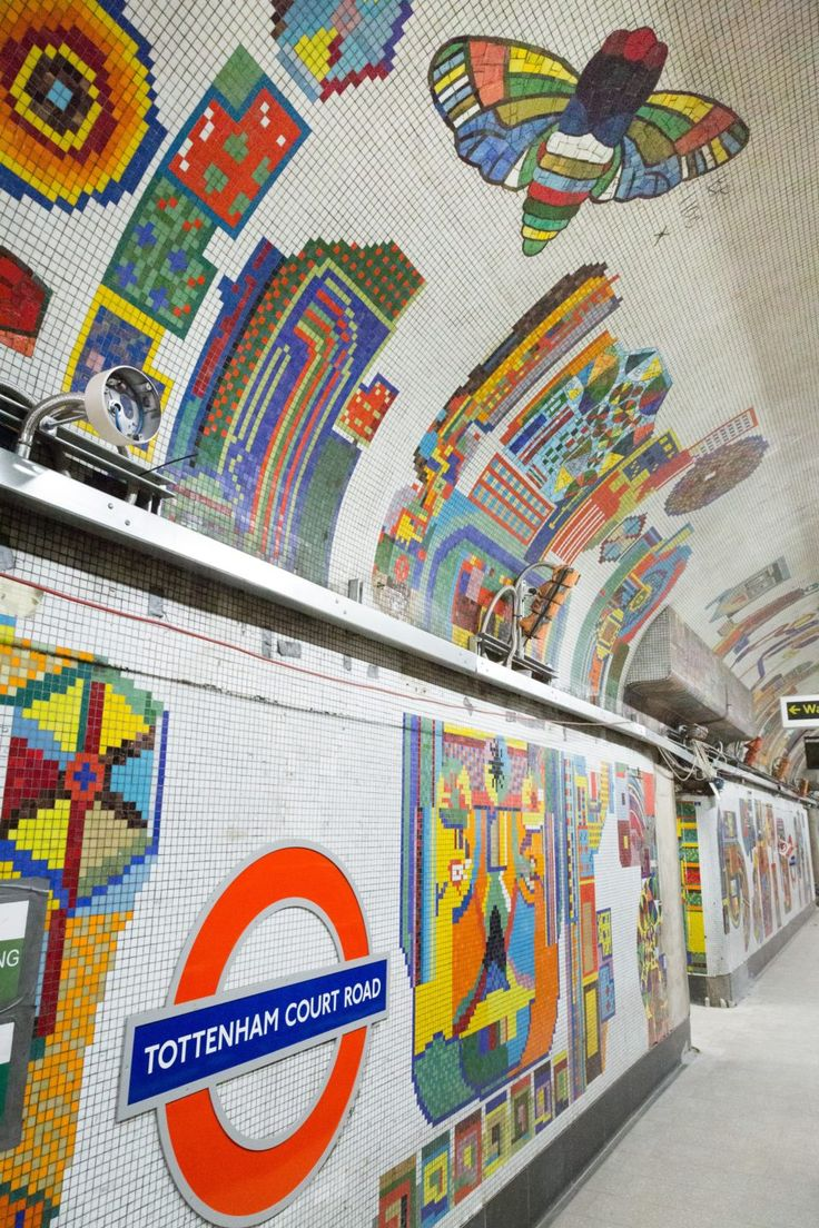 Eduardo Paolozzi's murals at Tottenham Court Road Underground Station, London, unveiled in 1986. Photo: Transport for London