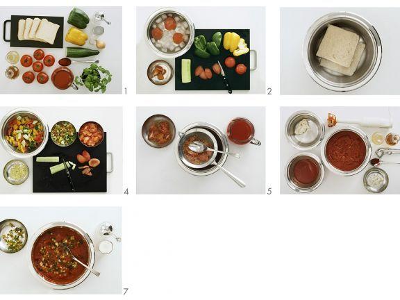 Gazpacho (kalte Gemüsesuppe) zubereiten ist ein Rezept mit frischen Zutaten aus der Kategorie Gemüsesuppe. Probieren Sie dieses und weitere Rezepte von EAT SMARTER!