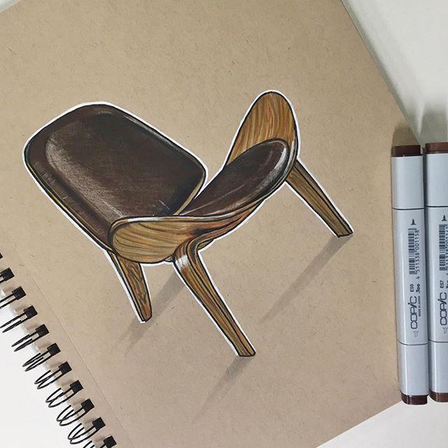 Hans Wegner Shell Chair #industrialdesign #productdesign #ID #sketching…