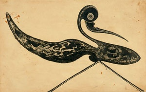 Rabindranath Tagore  (1861-1941)	  Untitled (Striding Bird), 1928  Ink on paper, 21.9 x 34.6 cm   Rabindra Bhavana  00‐2208‐16