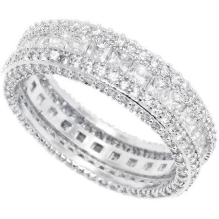 Emerald-Cut CZ 18kt White Gold Eternity Ring, Size: 6