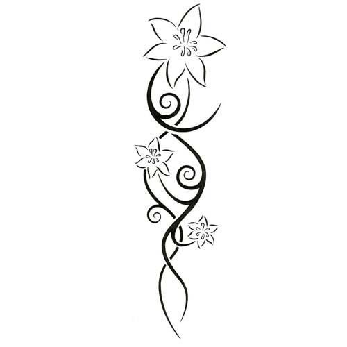 Tattoo Outlines Flowers Black And White: Lily Black Outline Tattoo Design
