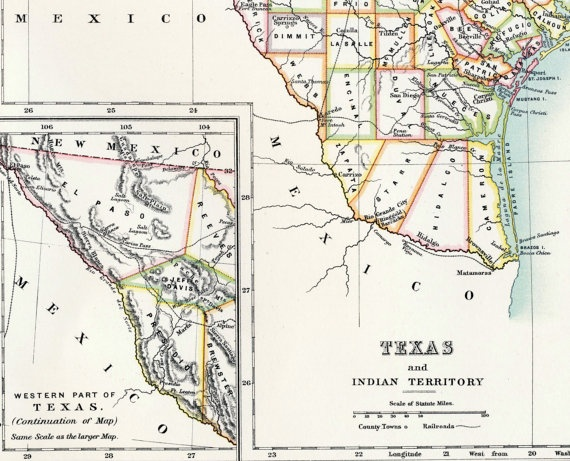 1890 Large Special Library Edition Antique Map of Texas and Indian Territory