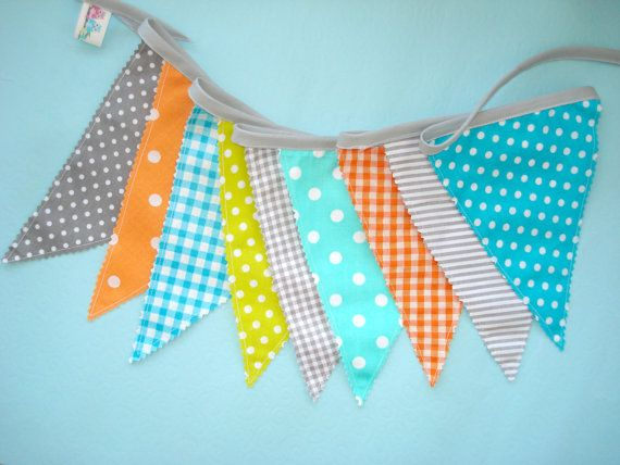 Gray  Orange Teal bunting Banner Fabric by LittleFairyCottage