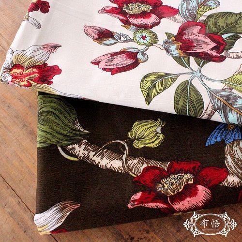 Environmental Bamboo Cotton Fabric Retro Home Cloth Table Fabrics Active Curtain Flower Leaves Pattem Textile Woven Telas Tecido
