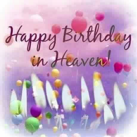 Happy birthday in heaven. 9 Candles an balloons.
