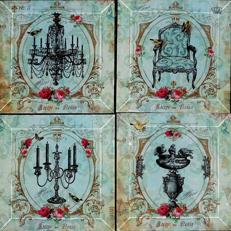 Hand decoupaged coasters.  Each can also be displayed on a plate stand or hung with a plate hanger as art.  Very chic and very French!