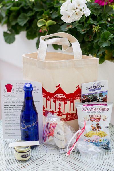Love this welcome bag for a Saratoga NY wedding, filled with Saratoga Water, Saratoga Chips, a horse shaped custom cookie and an awesome canvas tote of the Saratoga Race Course!