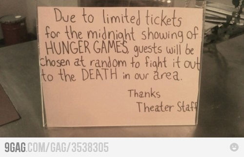 Wait a minute.........I sense the cinema is using the plot against us!: Giggle, Funny, Hunger Games, Movie, Hungergames, Didnt