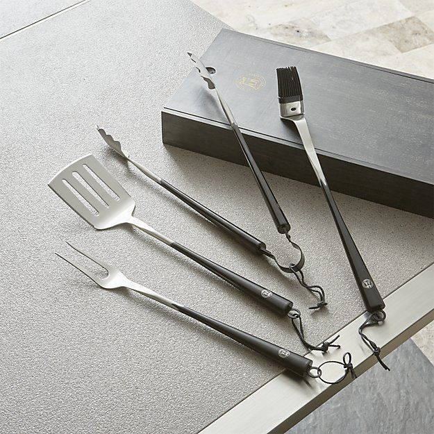 Schmidt Brothers ® Carbon 6 4-Piece Barbecue Tool Set | Crate and Barrel