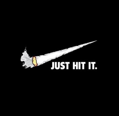 Nike parody spoof sticker decal weed swoosh pipe smoke dope cannabis